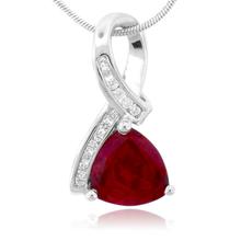 Trillion Cut Ruby Silver Pendant