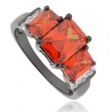 3 Stone Fire Opal Black Silver Ring