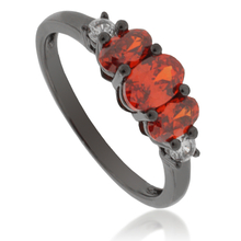 3 Stone Mexican Fire Opal Black Silver Ring