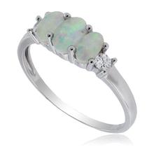 3 Stone White Opal Silver Ring