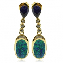 Beautiful Gold Plated Earrings with Australian Opal and Tanzanite in Drop Cut