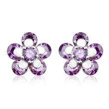 Beautiful Purple Flower Swarovski Crystal Earrings