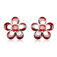 Beautiful Red Flower Shaped Swarovski Crystal Earrings