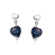 Blue Heart Shaped Swarovski Crystal Drop Earrings