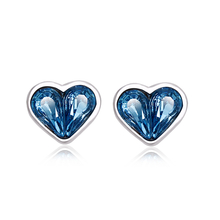 Blue Heart Shaped Swarovski Crystal Earrings