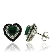 Gorgeous Emerald Earrings in Heart Shape With Zirconia in Sterling Silver.