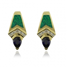 Gold Plated Earrings with Australian Opal and Drop Cut Tanzanite Gemstone