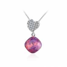 Gorgeous Swarovski Elements Amethyst Opal Color Heart Pendant
