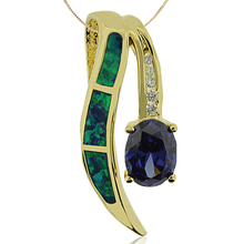 Oval Cut Tanzanite and Gold Plated Pendant With Australian Opal