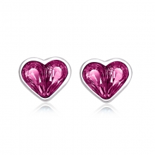 Pink Heart Shaped Swarovski Crystal Earrings