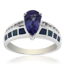 Solid 14k White Gold Australian Opal Ring with Tanzanite