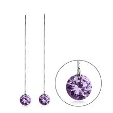Sterling Silver Purple Swarovski Crystal Earrings