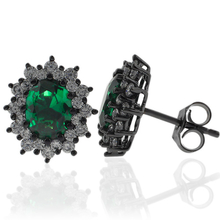 Precious Oval Cut Emerald and Oxidized Silver Earrings with Simulated Diamonds