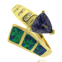 Beautiful Gold Plated Ring with Trillion Cut Tanzanite Gemstone and Australian Opal