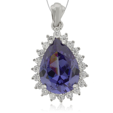 Drop-Cut Silver Pendant with Tanzanite & Zirconia Gemstones