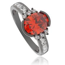 Oval-Cut Cherry Opal Black Silver Ring