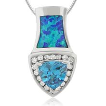Vibrant Australian Opal Pendant with Blue Topaz