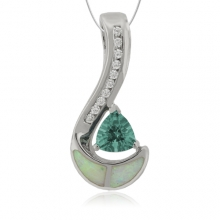 Trillion Cut Smoked Alexandrite and Opal Sterling Silver Pendant