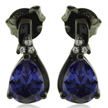 Drop Cut Tanzanite Earrings with Zirconia In Black Silver.