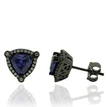 Beautiful Trillion Cut Tanzanite Earrings with Zirconia In Black Silver.