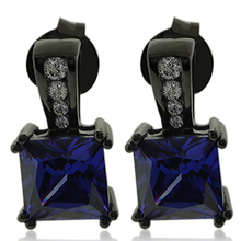 Beautiful Princess Cut Tanzanite Earrings with Zirconia In Black Silver.