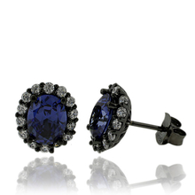Oval Cut Tanzanite Earrings with Zirconia In Black Silver.