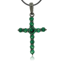 Emerald Black Silver Cross Pendant