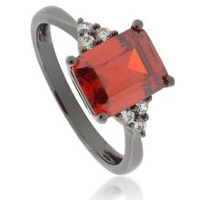 Emerald-Cut Fire Opal Oxidized Silver Ring