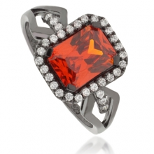 Amazing Fire Opal Oxidized Silver Ring