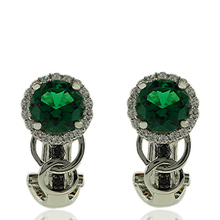 Gorgeous Round Cut Emerald Earrings With Sterling Silver And Simulated Diamonds