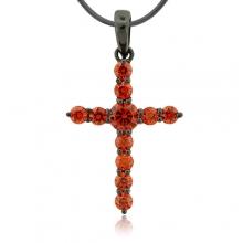 Fire Opal Black Silver Cross Pendant