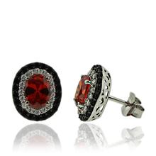 Oval Cut Fire Opal and Silver Earrings