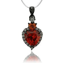 Heart Shape Fire Opal Pendant With Simuated Diamonds and Oxidized Silver
