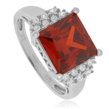 Big Mexican Fire Opal Princess Cut Stone Silver Ring