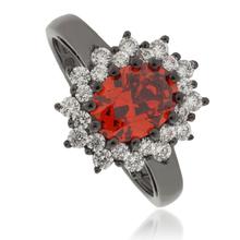 Princess Kate Fire Opal Black Silver Ring