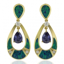 Gold Plated Earrings with Australian Opal and Tanzanite in Drop Cut