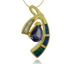 Beautiful Gold Plated Pendant with Australian Opal and Great Drop Cut Tanzanite Gemstone