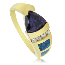 Gorgeous Gold Plated Ring with Trillion Cut Tanzanite Gemstone and Australian Opal