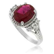 Oval-Cut Red Ruby .925 Silver Ring
