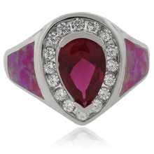 Amazing Pink Opal and Sapphire Silver Ring