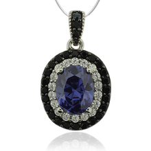 Oval Cut Tanzanite & Silver Pendant With Zirconia
