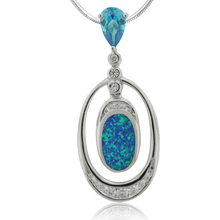 Amazing Blue Opal and Blue Topaz Pendant