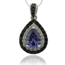 Drop Cut Tanzanite & Silver Pendant with Zirconia