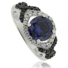 Precious Round Cut Tanzanite Silver Ring With Simulated Diamonds