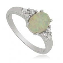 Sterling Silver Ring with Zirconia and White Opal