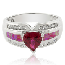 Pink Opal and Red Ruby Ring in Sterling Silver