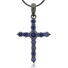 Tanzanite Black Silver Cross Pendant