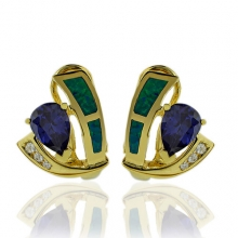 Gold Plated Earrings with Australian Opal and Pear Cut Tanzanite Gemstones