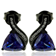 Trillion Cut Tanzanite Earrings with Zirconia In Black Silver.