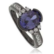 Tanzanite Oval Cut Stone Black Silver Ring